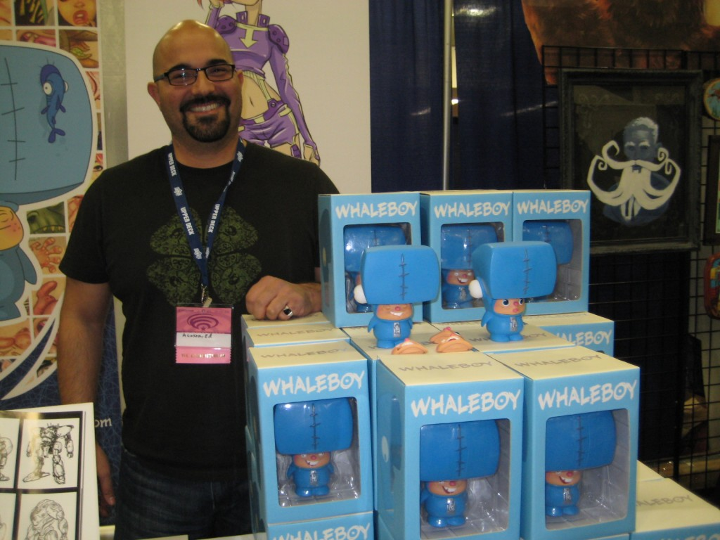 Ed Acosta with designer toys at Wondercon 2009 San Francisco