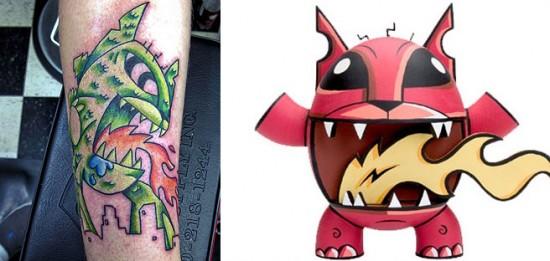 Tattoos inspired by art: Firecat by Joe Ledbetter. Tattoo by Arthur (A.J.) Zitzka. Flesh canvas by Jordan.