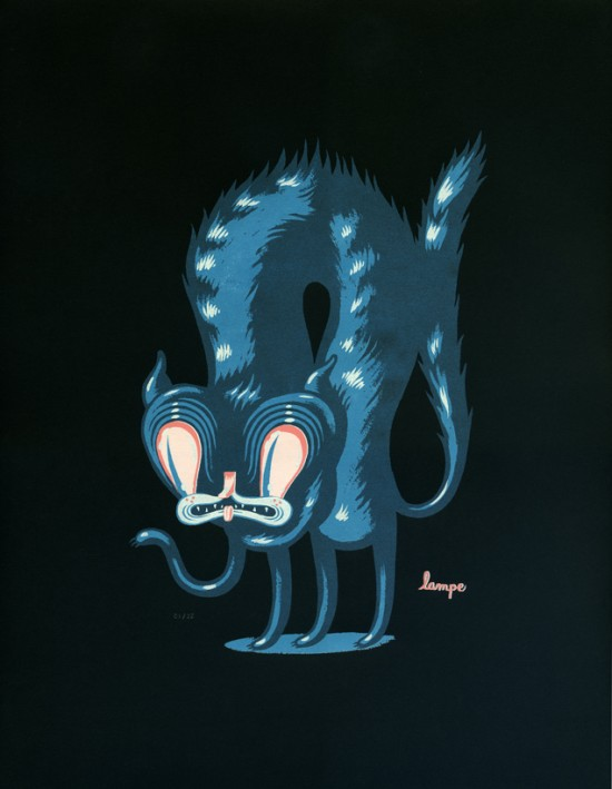 Travis Lampe's pop surrealism Cat Print