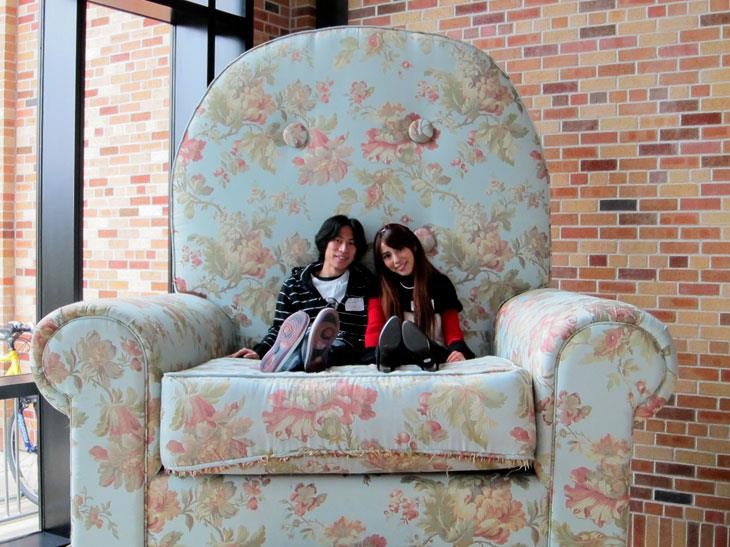 Shin and Nao in Pixar chair
