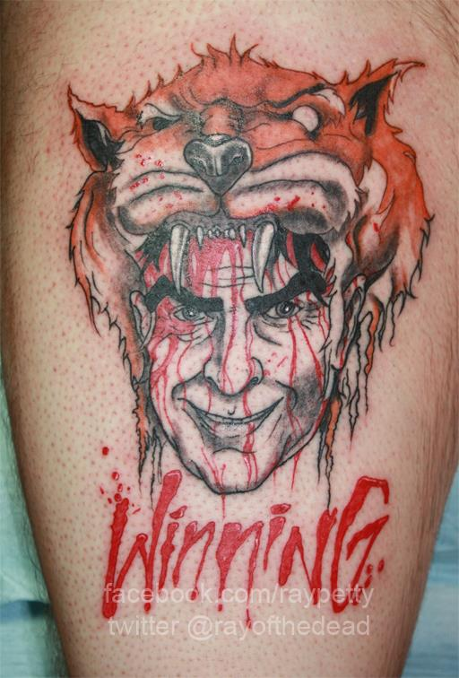 Charlie Sheen tattoo by Alex Pardee