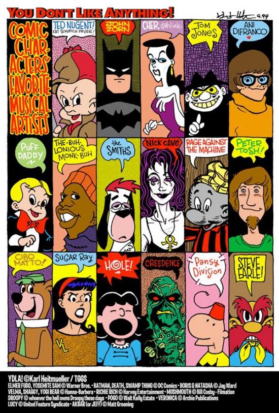 Cartoon Characters' Favorite Bands by Karl Heitmueller Jr