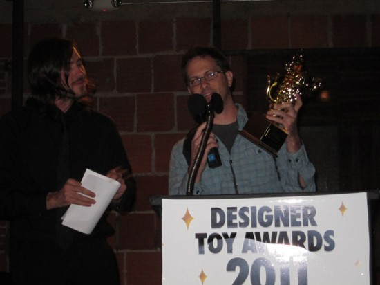 Gary Ham accepting his award for Best Self-Produced Toy