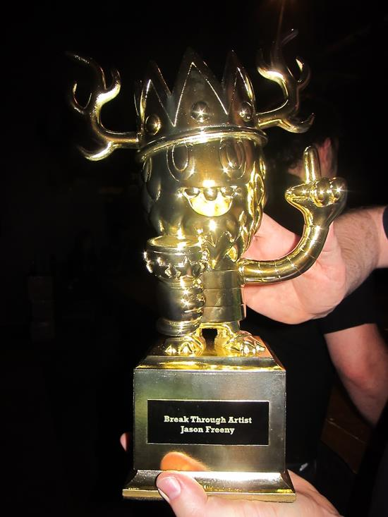 Closeup of Jason Freeny's trophy for Breakthrough Artist