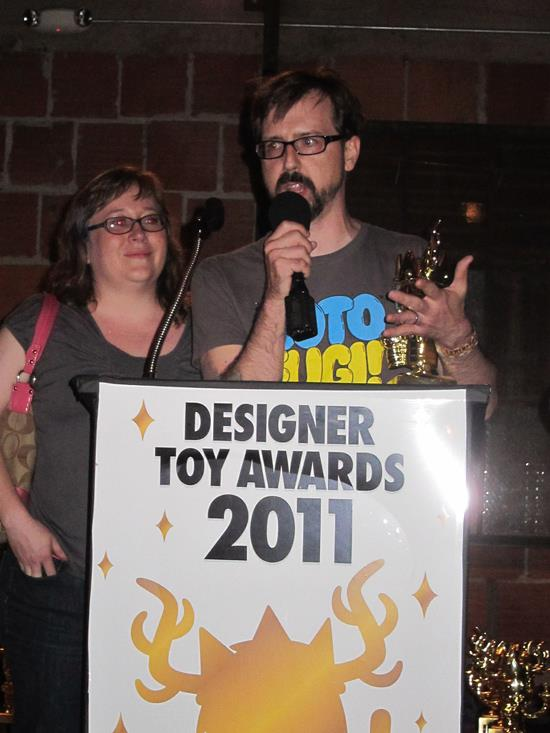Whitney and Kirby Kerr of Rotofugi accepting their awards for Best Toy Store