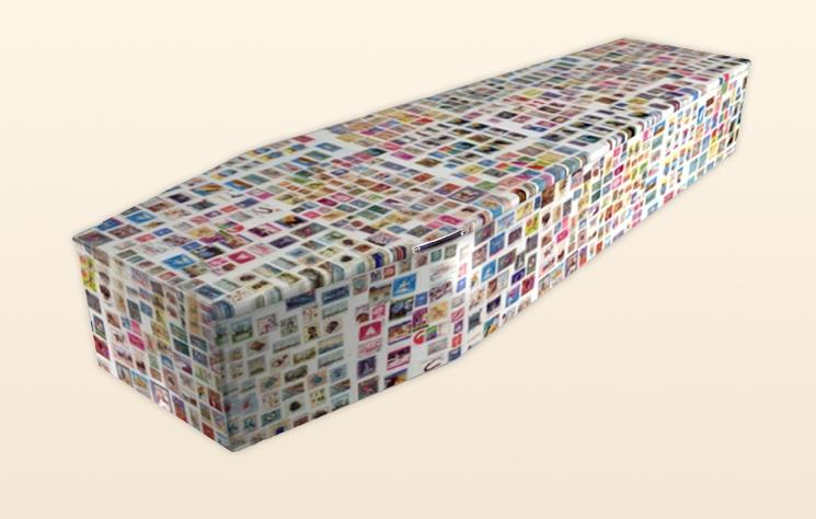 Stamp Collector Coffin by Colourful Coffins
