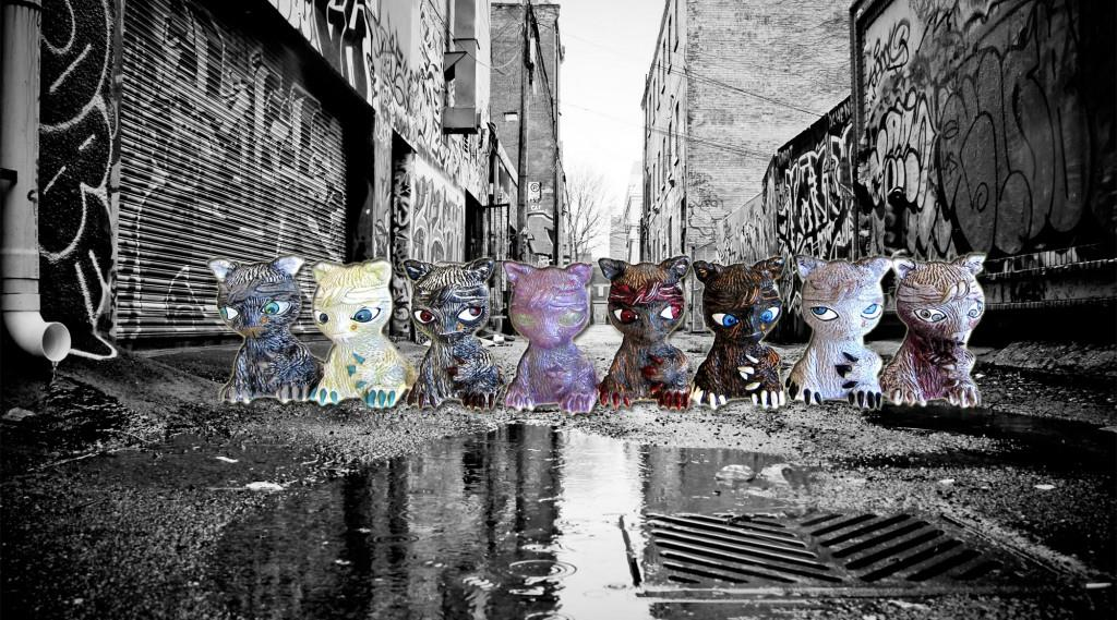 Tupac Cats by Jay222 and Alex Pardee