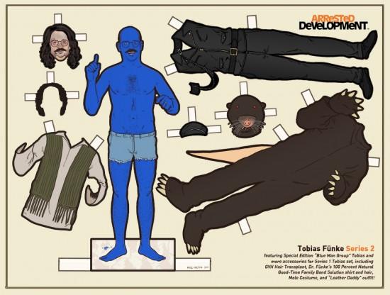 Arrested Development Paper Dolls: Blue Man Group Tobias © Kyle Hilton