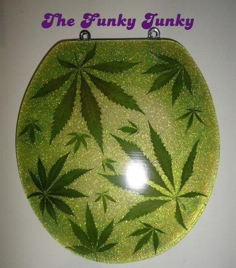 Funky Junky's Pot Pot Weed Art Marijuana Customized Toilet Seat
