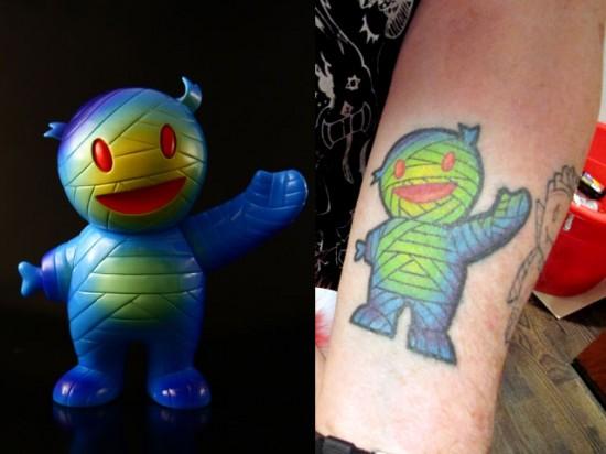 Tattoos inspired by art: Mummy Boy by Brian Flynn. Flesh canvas by Connell.