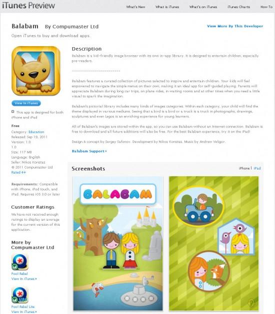 Balabam iPad app in iTunes