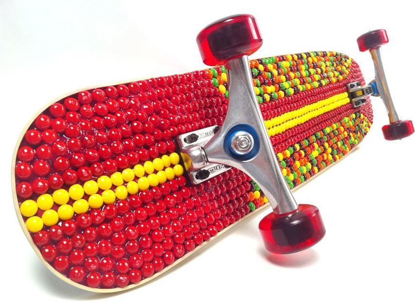 Skittles Covered Longboard