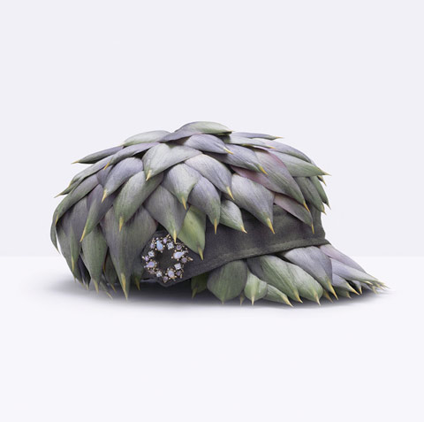Hat made of artichokes