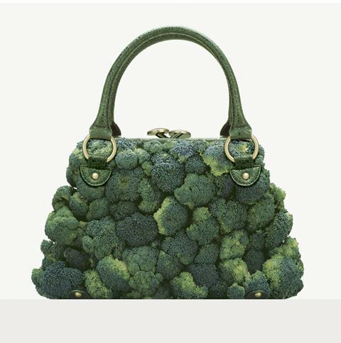 Handbag made of broccoli