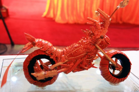 Mini Motorcycle Made of Lobsters