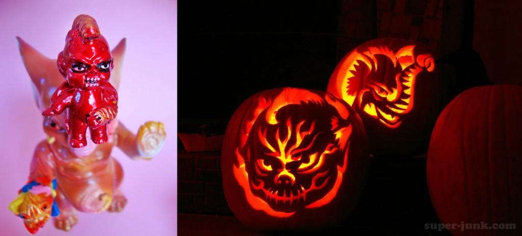 Paul and Melissa Kaiju Halloween pumpkins
