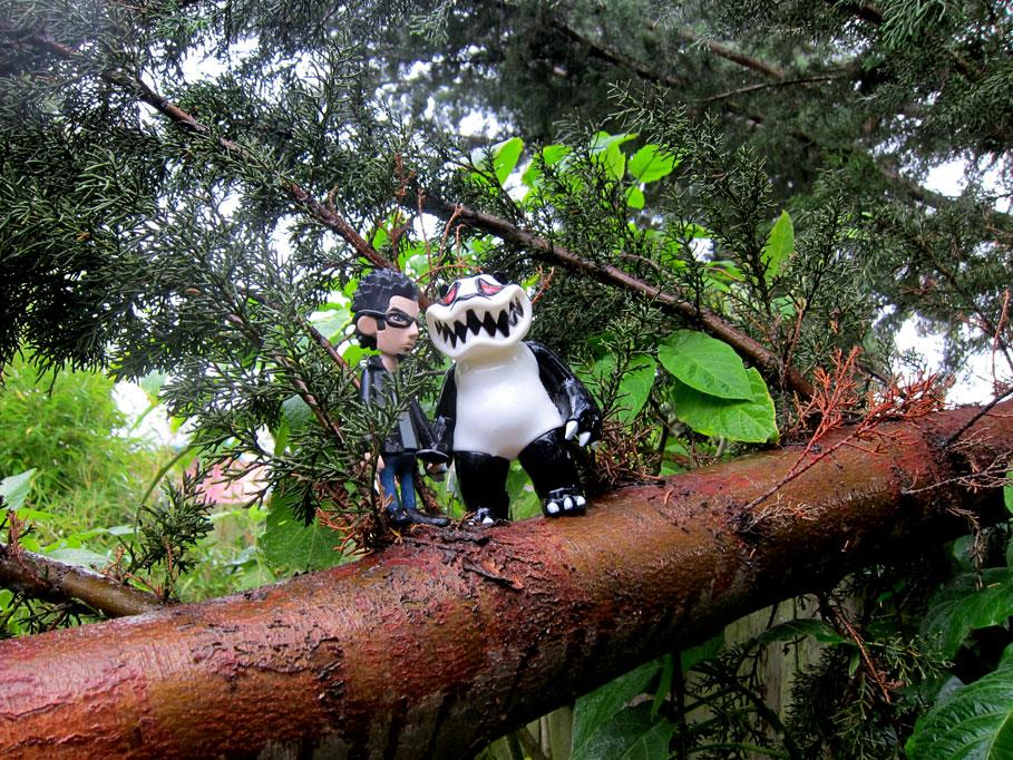 Mad Panda and me in a fallen tree