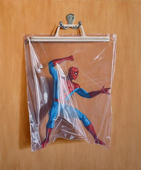 Peter Parker superheroes in bags