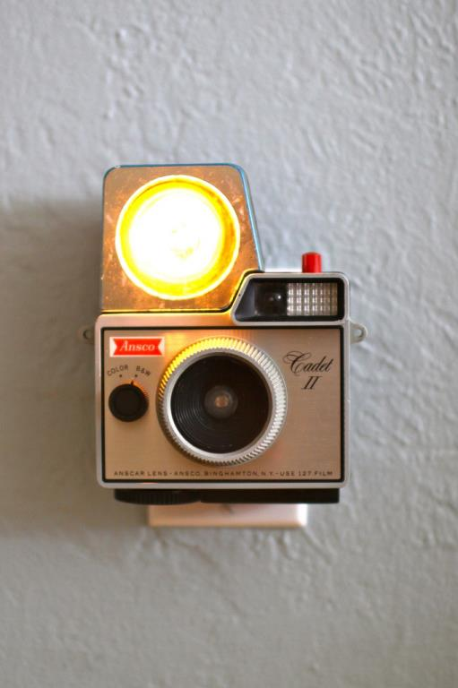 Vintage cameras turned into night lights by Jason Hull