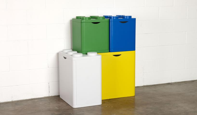 LECO LEGO Stacking Bins For Recycling By Flusso Creative