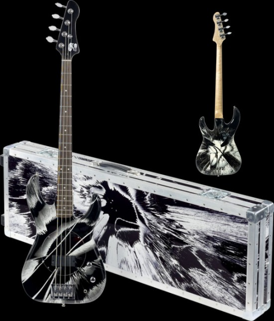 Black and White Spun Bass Guitars by Damien Hirst & Flea