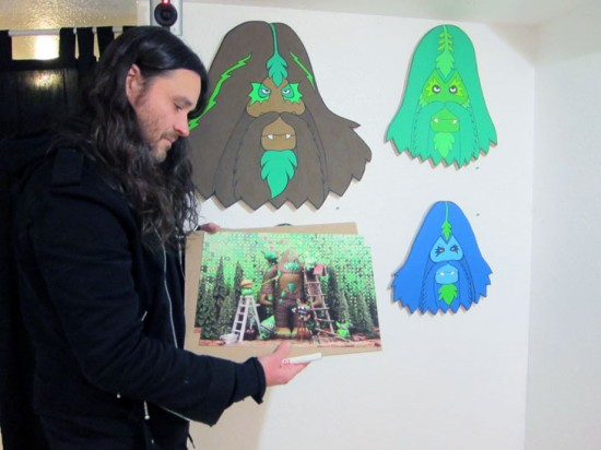 Bigfoot with Bigfoot Gets a Haircut Print by Ryan Roberts
