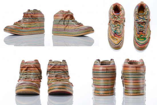 new recycled skateboard deck sculptures by haroshi: Nike Dunks by Haroshi