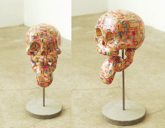 new recycled skateboard deck sculptures by haroshi: Madskull by Haroshi