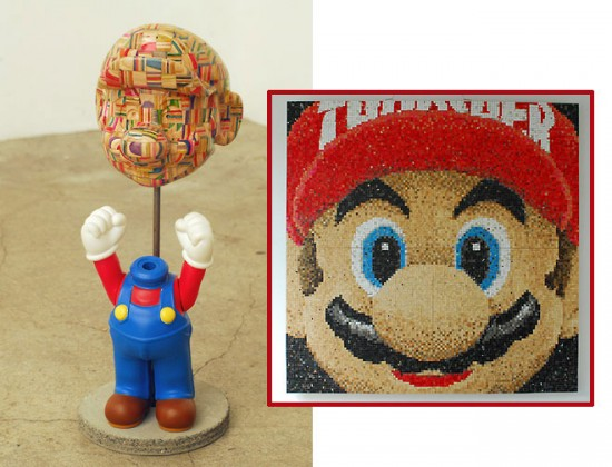 new recycled skateboard deck sculptures by haroshi: Mario by Haroshi