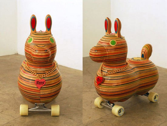 new recycled skateboard deck sculptures by haroshi: Sk8rody by Haroshi