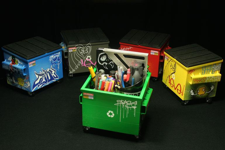 Mini Dumpster Sculptures by Steel Plant