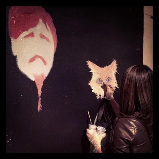 painting a cat at Club Six, San Francisco