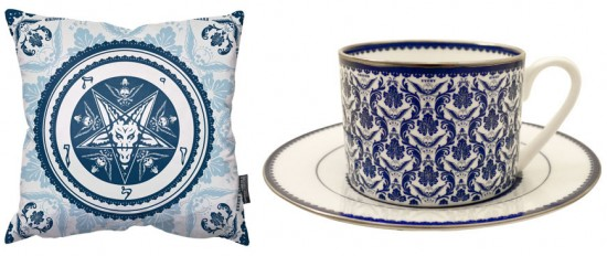 Frank Kozik pillows and teacups from TIALE
