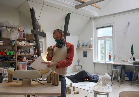 Fredrik Raddum in the studio, Oslo, Norway