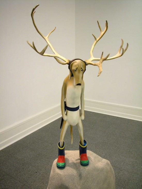 """Dog with Horns"" sculpture"