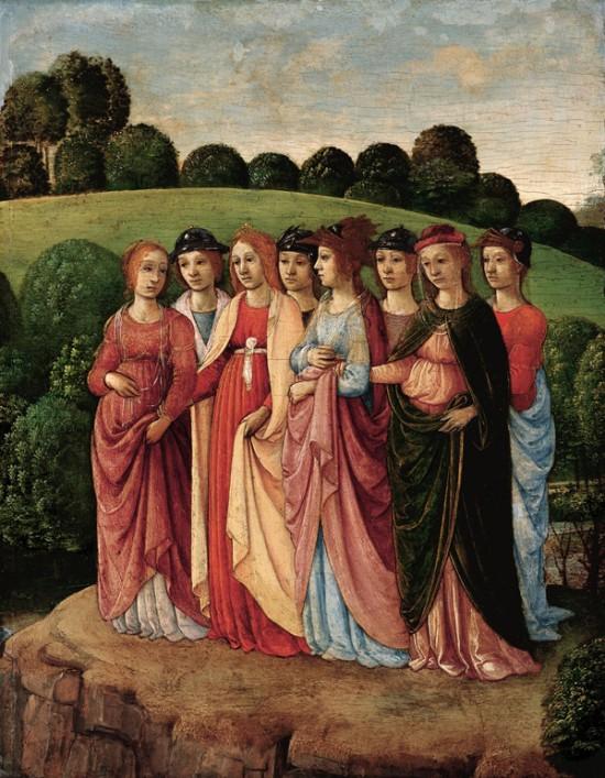 Chaste Women in a Landscape by Gherardo di Giovanni del Fora
