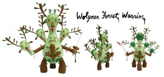 Wolyner Forest Warrior designer toys by Gary Baseman
