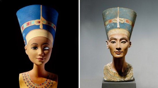 Bust of Nefertiti from 1345 BCE; recreated by Jocelyne Grivaud