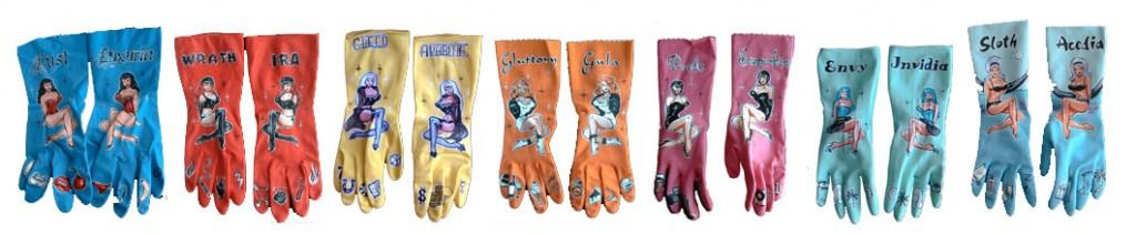 Ladies on latex dishwashing gloves
