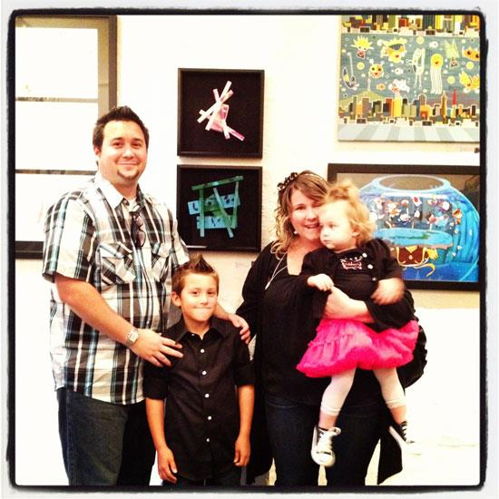 "The Avalos family in front of Xander and Bella's ""Blue Dynamic"" and ""Pink Dynamic"" sculptures. Earth Movement trivia: At age 1.5, Bella was our youngest artist!"