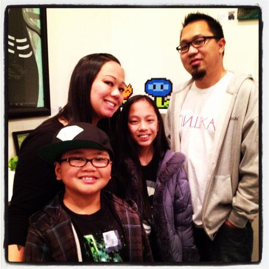 """Ryan, Joanne, Kayla and Ray Suavillo (aka DRAGATOMI) in front of Kayla's """"Ice Flower"""" sculpture. EARTH MOVEMENT trivia: All of Kayla's sculptures have sold out!"""