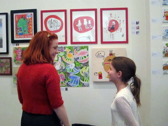 Greta and Kathryn talking about the art