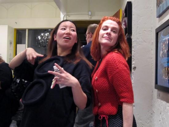 Keiko and Greta striking poses