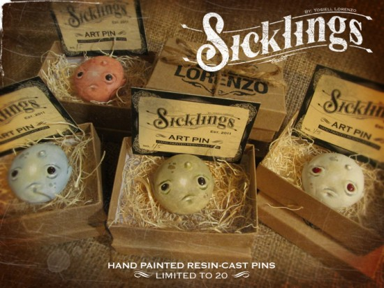 Sicklings resin art pins by Yosiell Lorenzo