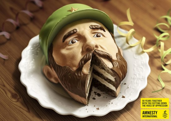 Political Food Art: Amnesty International's Dick-Cake-Ors Campaign Fidel Castro cake