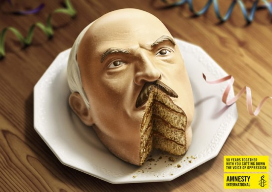 Political Food Art: Amnesty International's Dick-Cake-Ors Campaign Alexander Lukashenko cake
