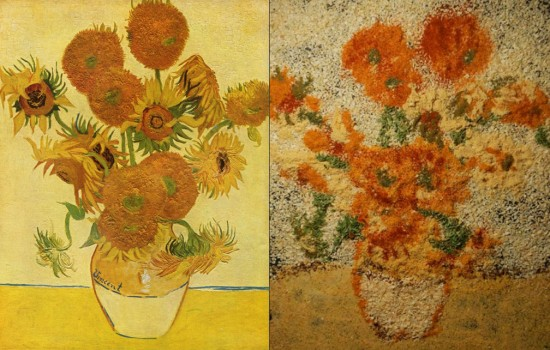 "Van Gogh's ""Vase with Fifteen Sunflowers"" from 1888 (at left) and Kelly McCollam (at right)"