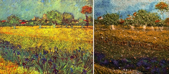 "Van Gogh's ""Olive Trees with Yellow Sky and Sun"" from 1889 (at left) and Kelly McCollam's recreation (at right)"