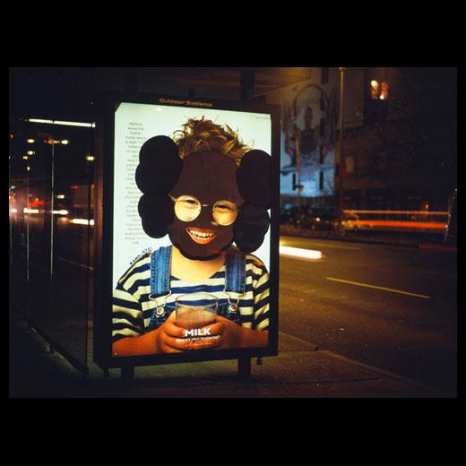 KAWS appropriated bus stop