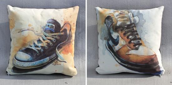 Sneaker Art Pillows by Lou Pimentel